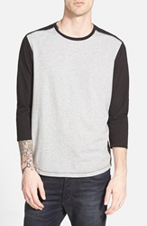 Howe 'Jack' Three Quarter Sleeve Baseball T Shirt Black Heather Grey