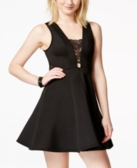 Material Girl Juniors' Illusion Lace Skater Dress Only At Macy's Caviar Black