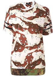 Dsquared2 Camouflage Stripe Accent T Shirt Brown