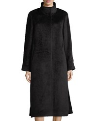 Cinzia Rocca Long Stand Collar Alpaca Blend Coat Black