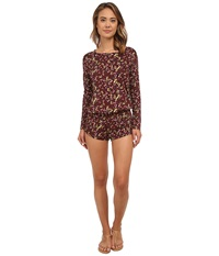 Beach Riot Crimson Floral Long Sleeve Romper Crimson Floral Women's Jumpsuit And Rompers One Piece Purple