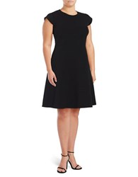 Vince Camuto Plus Cap Sleeve Fit And Flare Dress Black