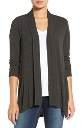Bobeau Women's High Low Jersey Cardigan Charcoal