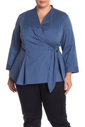 Lafayette 148 New York Jillian Wrap Blouse Plus Size Riptide