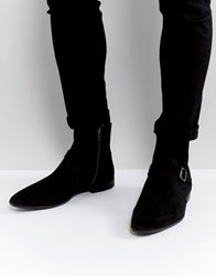 Asos Chelsea Boots In Black Suede With Strap Buckle Detail Black