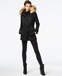 Bar Iii Faux Fur Trim Quilted Anorak Black