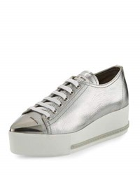 Miu Miu Metallic Leather Cap Toe Sneaker Silver