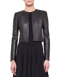 Akris Hasso Cropped Napa Leather Jacket Black
