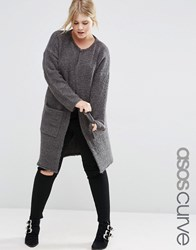 Asos Curve Knitted Midi Cardigan Charcoal Grey