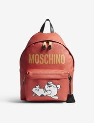 Moschino Logo Faux Leather Backpack Red