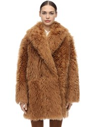 Salvatore Ferragamo Shearling Wrap Coat Camel