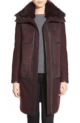 Badgley Mischka 'Sofia' Reversible Genuine Shearling And Melton Patchwork Coat Deep Grape