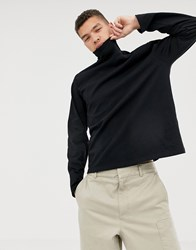 Asos White Loose Fit Long Sleeve T Shirt With Turtle Neck Black