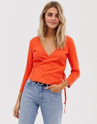 Jdy Ribbed Wrap Cropped Top Red
