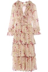 Zimmermann Winsome Tiered Crinkled Silk Chiffon Dress Blush