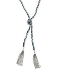 Guess Silver Tone Woven Blue Twisted Tassel Necklace