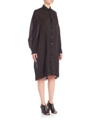 Junya Watanabe Embroidered Oversized Shirtdress Black
