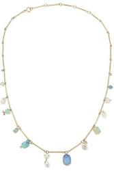 Wwake Net Sustain 14 Karat Gold Multi Stone Necklace