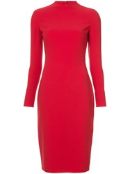 Ralph Lauren Fitted Midi Dress Red