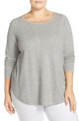 Eileen Fisher Plus Size Women's Organic Cotton And Cashmere Ballet Neck Pullover Dark Pearl