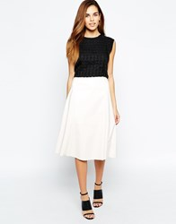 Warehouse Patent Full Midi Skirt White