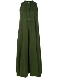 Aspesi Sleeveless Maxi Dress Women Linen Flax 42 Green