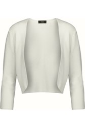 Theory Amarissa Cropped Stretch Knit Cardigan Ivory