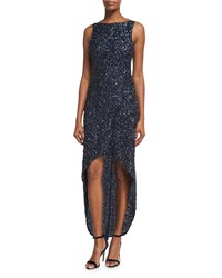 Parker Black Nellie Sleeveless Beaded High Low Gown Navy