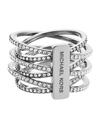 Michael Kors Pave Criss Cross Ring Female Silver