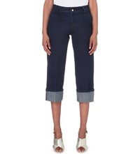 Warehouse Cropped Turn Up Mid Rise Jeans Blue