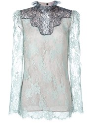 Lanvin Lace Sheer Top Blue