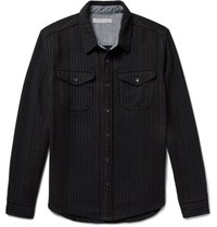 Outerknown Striped Organic Cotton Twill Shirt Black