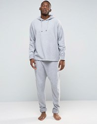 Asos Loungewear Drop Crotch Joggers In Towelling With Turn Up Cuffs Grey Marl