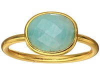 Dee Berkley Single Oval Stone Adjustable Ring Amazonite Aqua Ring Blue