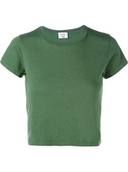 Re Done Hanes Boxy Cropped Short Sleeve T Shirt Green