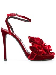 Ermanno Scervino Floral Embellishment Sandals Red