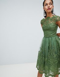 Chi Chi London Premium Lace Midi Dress With Cap Sleeve Green