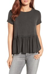 Bobeau Women's Short Sleeve Peplum Tee Deep Black