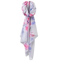 Joules Wensley Stripe And Floral Print Scarf Pale Grey Multi