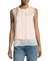 Vince Double Layered Embroidered Shell Top Nude