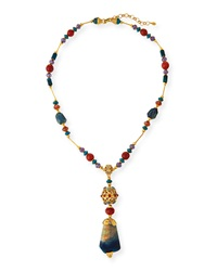 Jose And Maria Barrera Long Multi Stone Pendant Necklace Blue