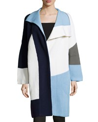 Prabal Gurung Long Sleeve Colorblock Sweater Coat Light Blue
