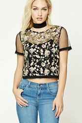 Forever 21 Contemporary Floral Mesh Top Black Pink