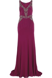 Amanda Wakeley Embellished Silk Crepe De Chine Gown Purple