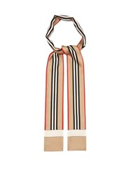 Burberry Icon Stripe Print Silk Skinny Scarf Beige Multi