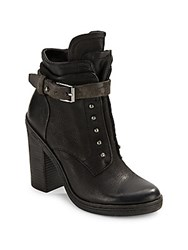 Dolce Vita Justin Chunky Heel Leather Booties Black
