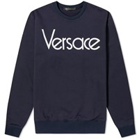 Versace 90S Logo Embroidered Sweat Blue