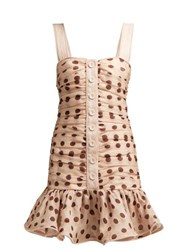 Zimmermann Corsage Polka Dot Linen Blend Mini Dress Light Pink