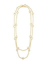 Chanel Vintage Crystal Embellished Necklace Metallic