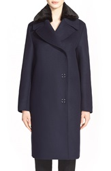 Acne Studios 'Era' Long Wool Blend Coat With Detachable Faux Fur Collar Dark Navy